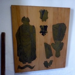 Brasses from the church damaged in the explosion